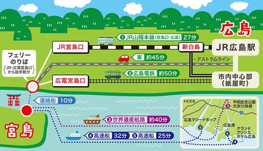 各方面から『電車(JR・私鉄)』で、「広島駅・宮島 厳島神社」へのアクセス方法(料金)