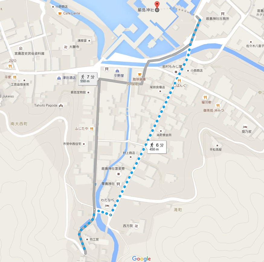 宮島・厳島神社から宮島・大聖院へのアクセス・行き方